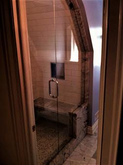 Inline custom shape glass shower