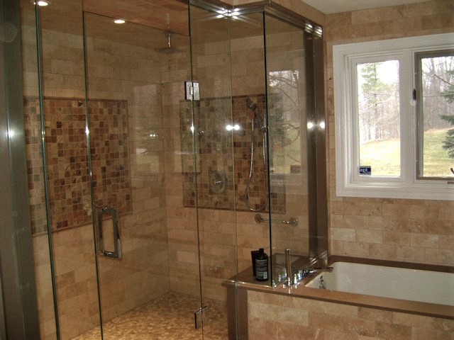 Irregular glass shower