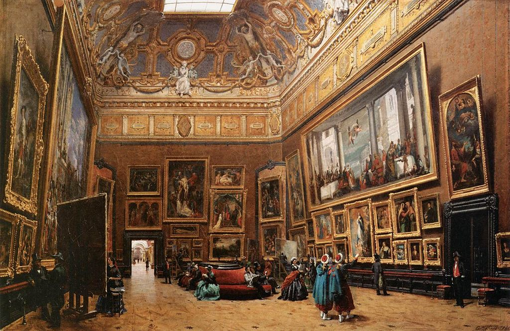 1024px-Giuseppe_Castiglione_-_View_of_the_Grand_Salon_Carré_in_the_Louvre_-_WGA4