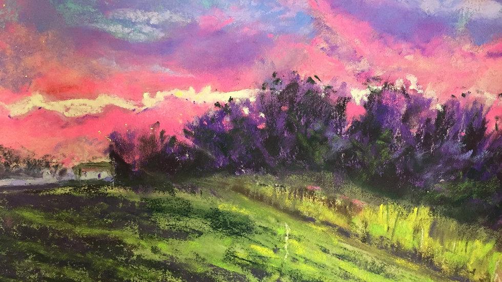 brilliant sunset painting, Rhode Island