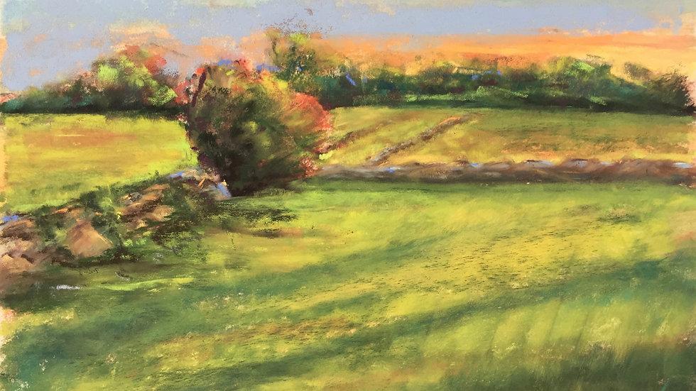sunset landcape painting, West Main Road, Little Compton, RI