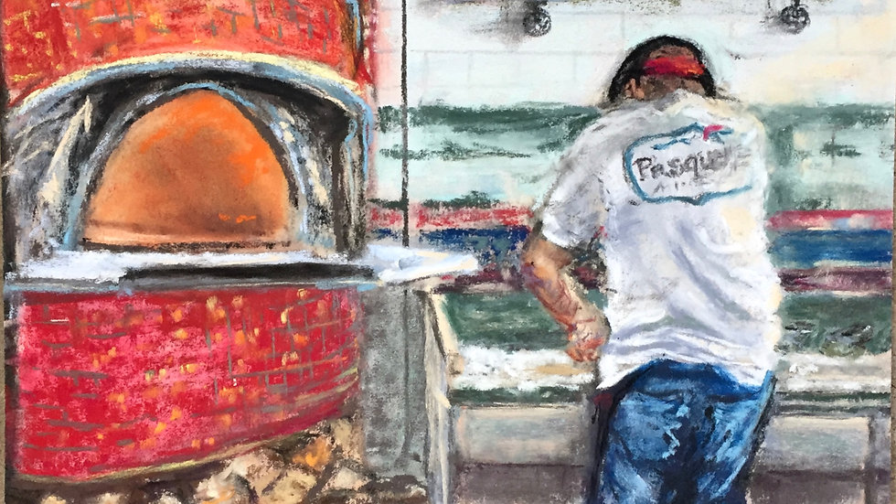 pizza chef painting, Pasquale's, Wakefield, RI