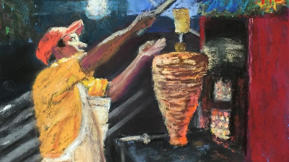 taco truck painting, UArt Black, Mexico City, tacos al pastor