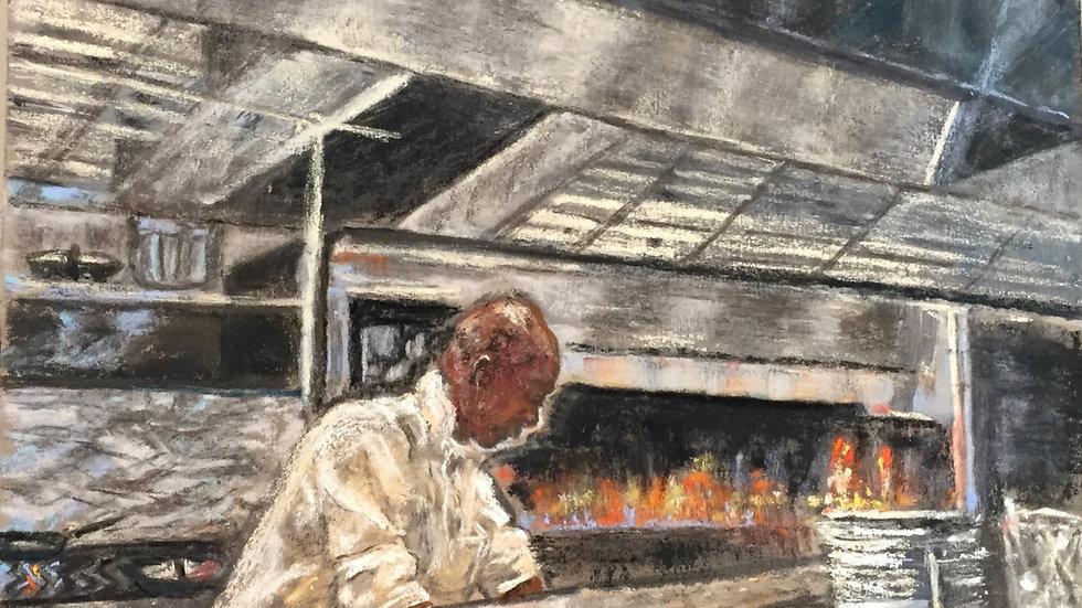 chef painting, grill chef, Avvio, Rhode Island