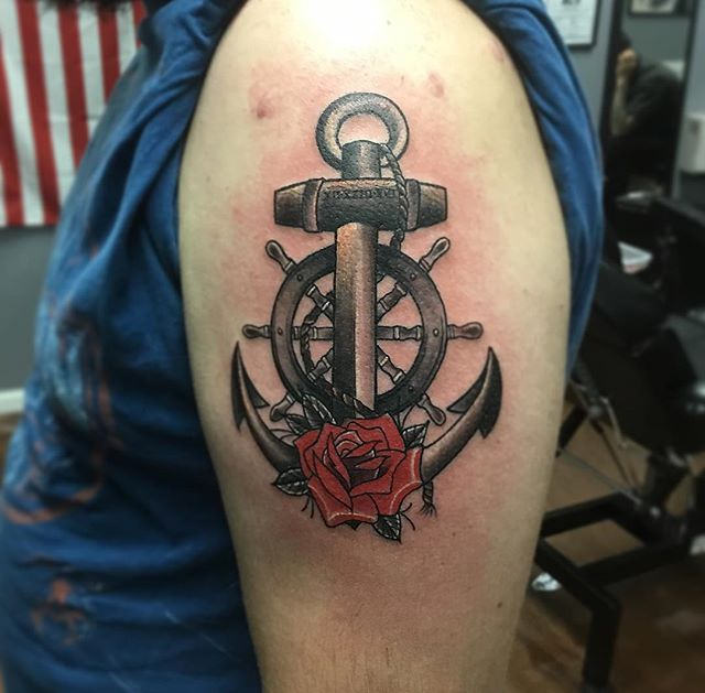 Here a pretty cool tattoo i did #anchor#anchortattoo#shipwheel#shipwheeltattoo#rose#rosetattoo#color