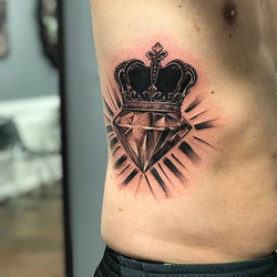 Diamond and crown i got to do this week #diamond#diamondtattoo#crown#crowntattoo#bng#bngsocietyink#b