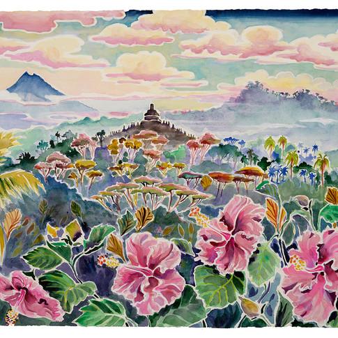 5. Borobudur with Hibiscus, 49x63cm
