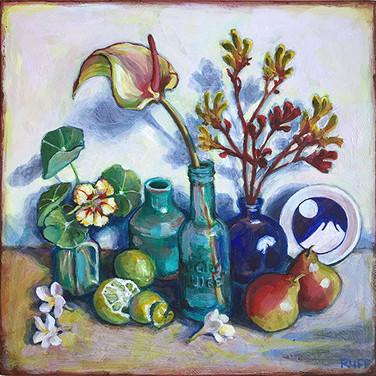 Tableau with frangipani