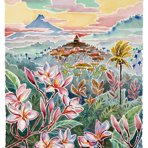 12. Borobudur with Plumeria, 55x36cm