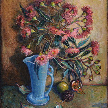 Gum flowers with blue vase