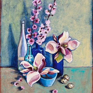 Magnolias with quail eggs