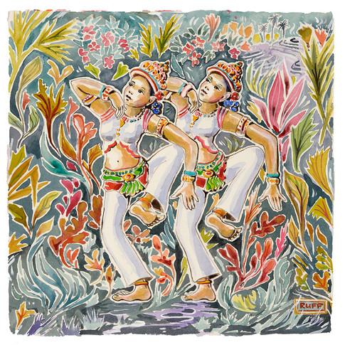 16. Dancers, 38x38cm