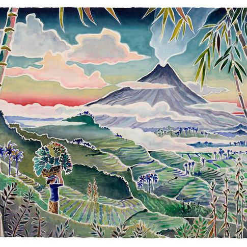 6. Merapi Morning, 49x63cm
