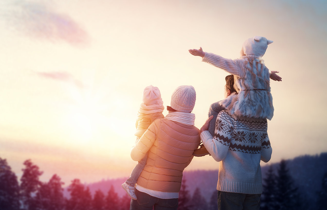 Happy family at sunset. Father, mother a