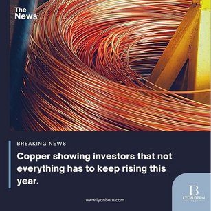 Copper is showing investors that not everything goes up.