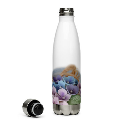 Vintage Rose Hydrangea Stainless Steel Water Bottle