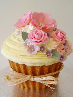 Vintage Flower Giant Cupcake