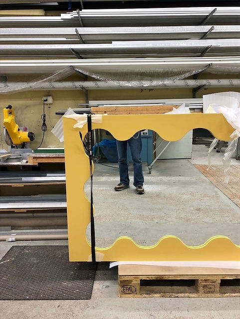 Yellow Curvy Mirror in the making