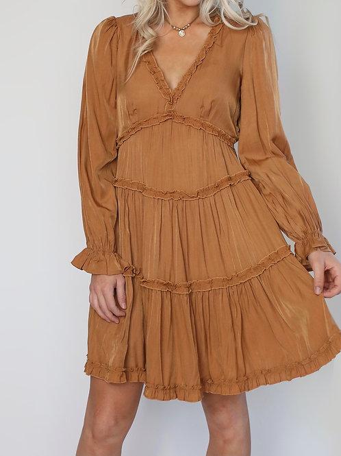 Daliyah Washed Satin Ruffle Dress