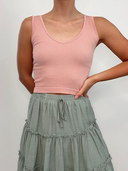 Ribbed V Neck Cropped Top