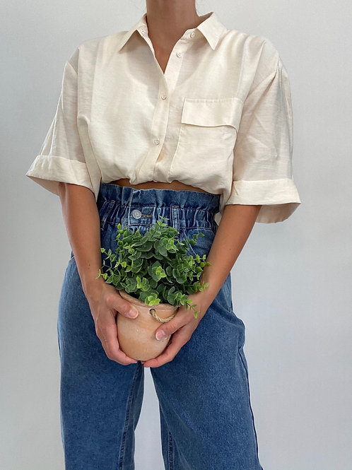 Oh Happy Day Vintage Paper Bag High Waisted Jean