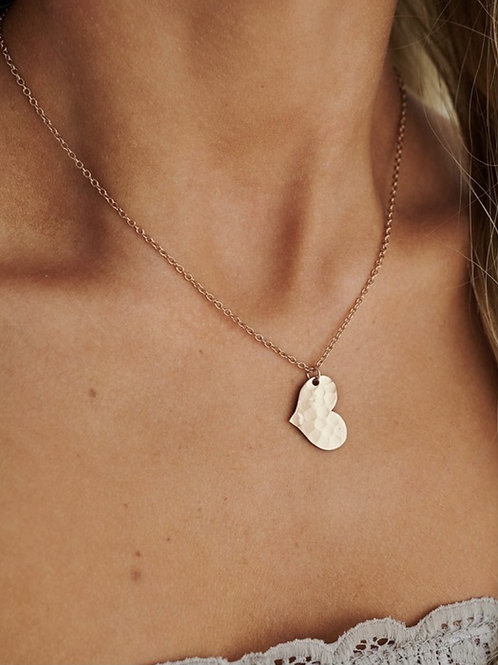 Hammered Heart Charm Necklace