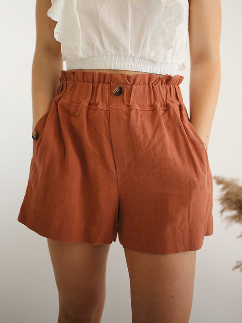 High Waist Paper Bag Shorts