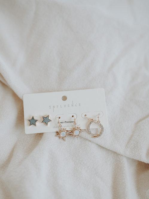 Star, Sun, & Moon Earrings