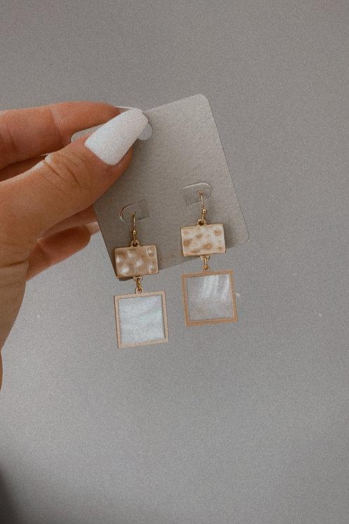 Flat Square Charm Hook Earring