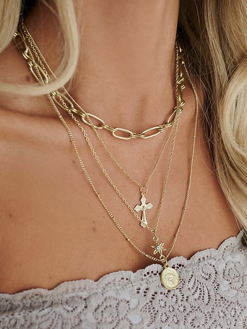 Quad Layered Detail Charm Necklace