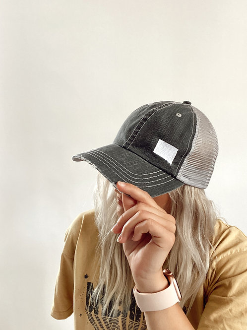 Grey Mesh SD Trucker Hat