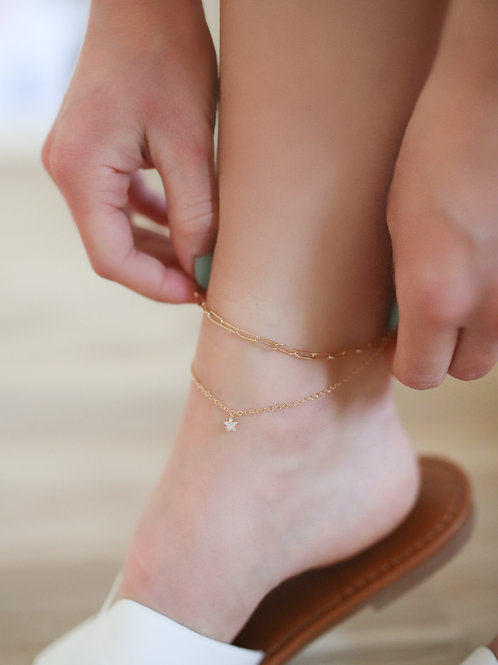 Layered Dainty Stud Chain Anklet