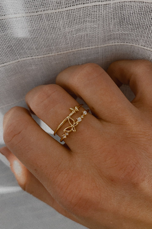 Layered Butterfly Ring