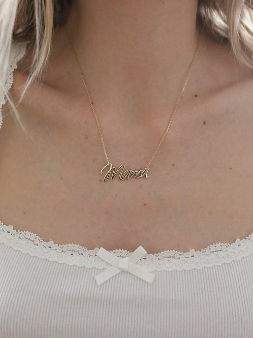 Sterling Silver Mama Print Necklace