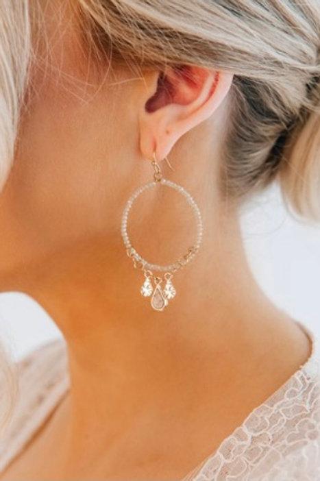Beaded Detail Charm Glass Stone Earring