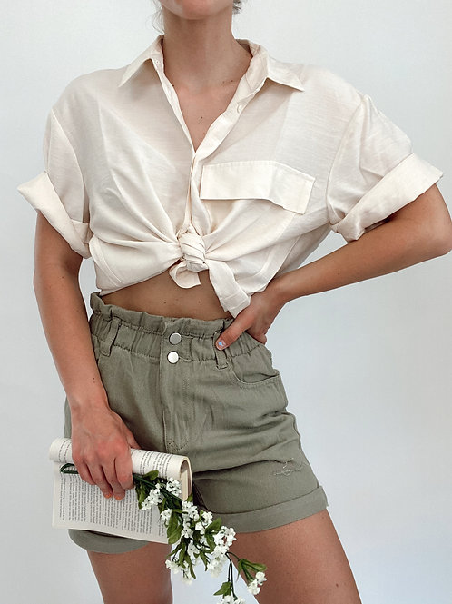 Vivienne Distressed Paper Bag High Waist Shorts