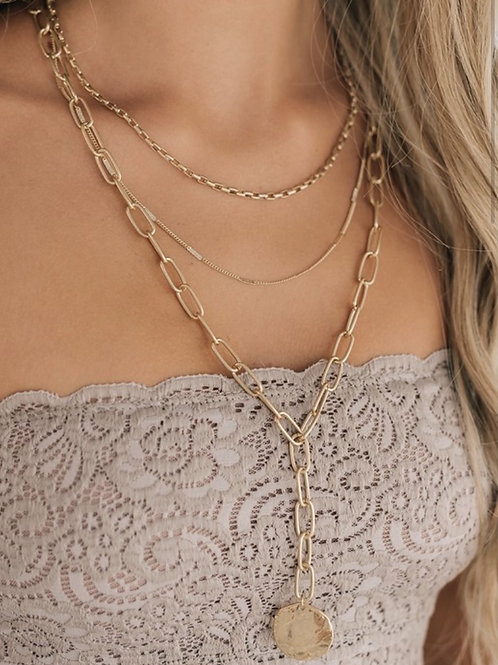 Chunky Layered Coin Charm Lariat