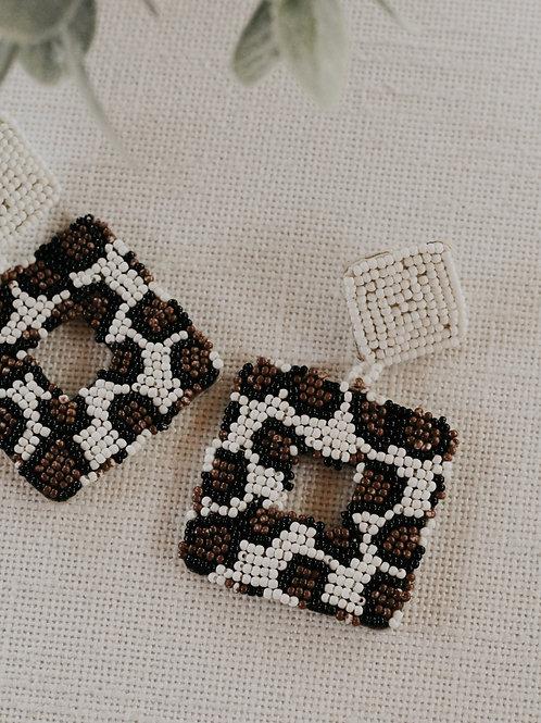 Seed Bead Square Earrings