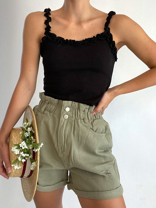 Basic Cropped Frill Detail Tank Top