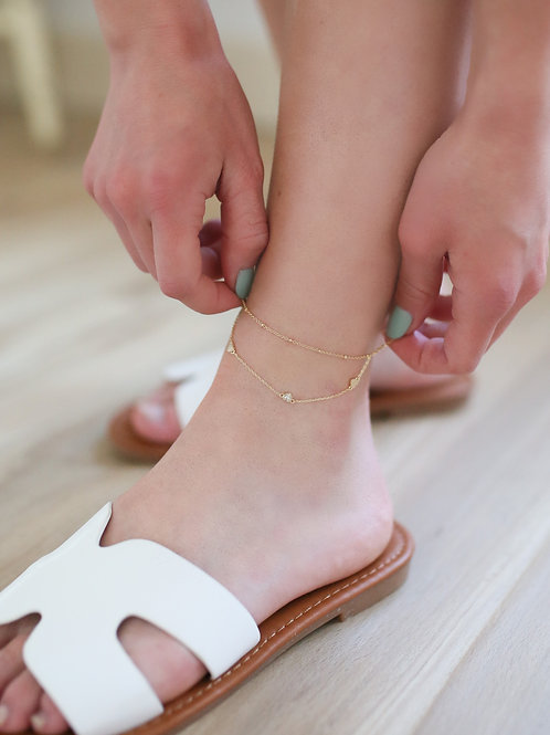 Layered Dainty Heart Anklet
