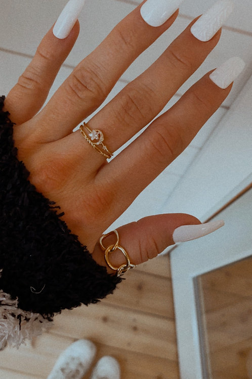 Star and Moon Studs Band Ring