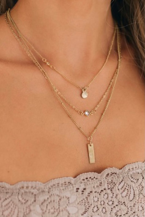 Triple Layered Vertical Bar Necklace