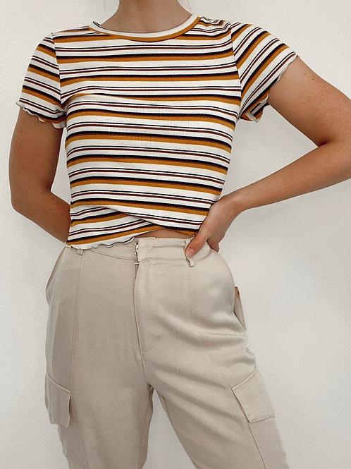 Cropped Striped Rib Knit Top