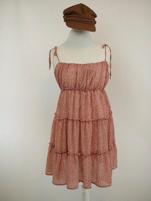 Let's Have a Macaroon Tiered A Line Strap Tie Dress