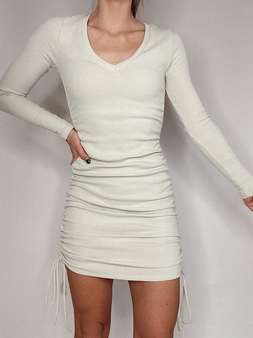 Harmony Rib Ruched V Neck Dress