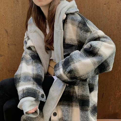 Life's Moments Long Plaid Wool Coat