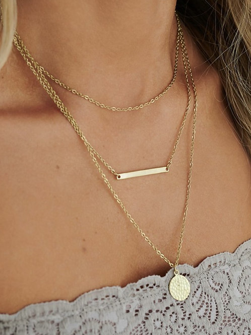 Triple Layered Detail Bar and Coin Necklace