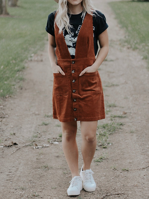 Corduroy Button Down Overall Mini Skirt