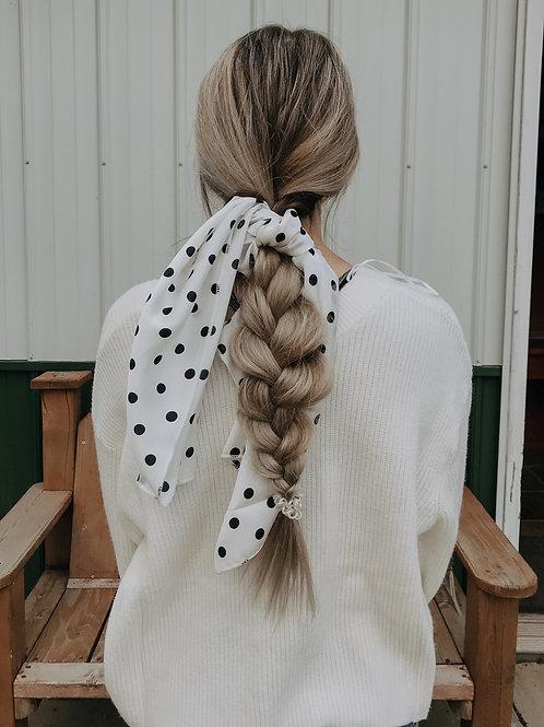Polka Dot Silky Satin Hair Scarf