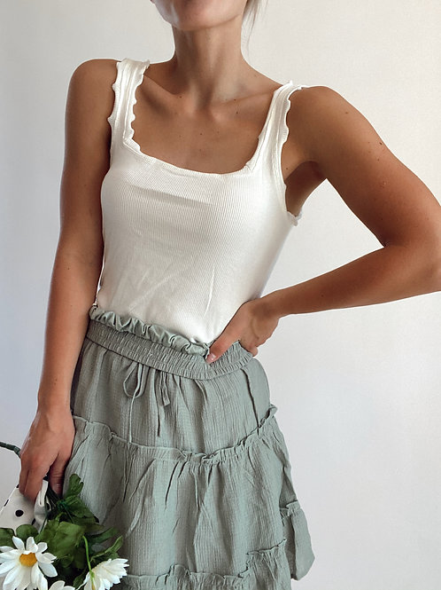 Cropped Frill Detail Tank Top